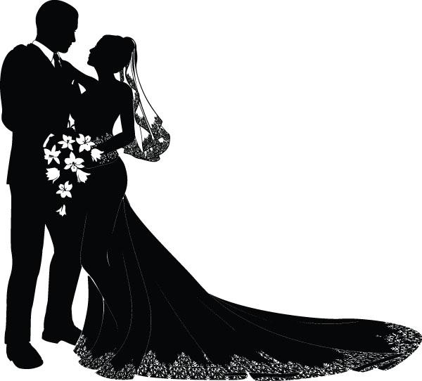 free-vector-bride-and-groom-vector_005509_Wedding design 03.jpg (600×542)