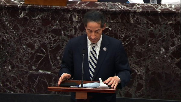 Raskin makes closing arguments, poses questions