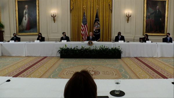 Biden pushes infrastructure in 1st Cabinet meeting