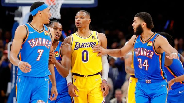 Russell Westbrook ejection caps Los Angeles Lakers' loss to Oklahoma City Thunder after blowing 26-point lead