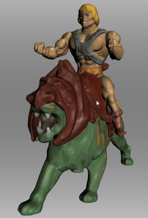 3D-model of He-man sitting on the back battlecat from the masters of the universe