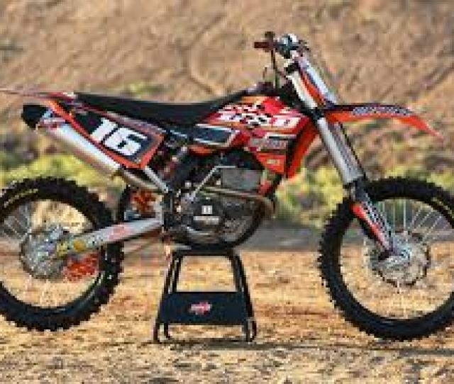 A Standard Dirt Bike Is Pictured