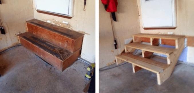 Steep Garage Stairs Rebuild