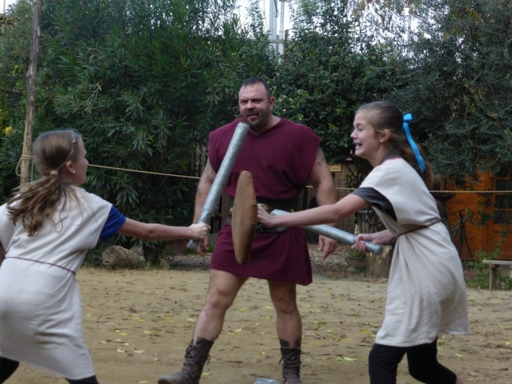 "Two sisters fight with gladiator ""weapons"""