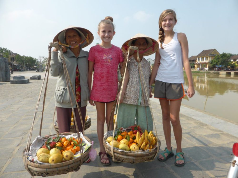 Two American girls with two Vietnamese women in Hoi An