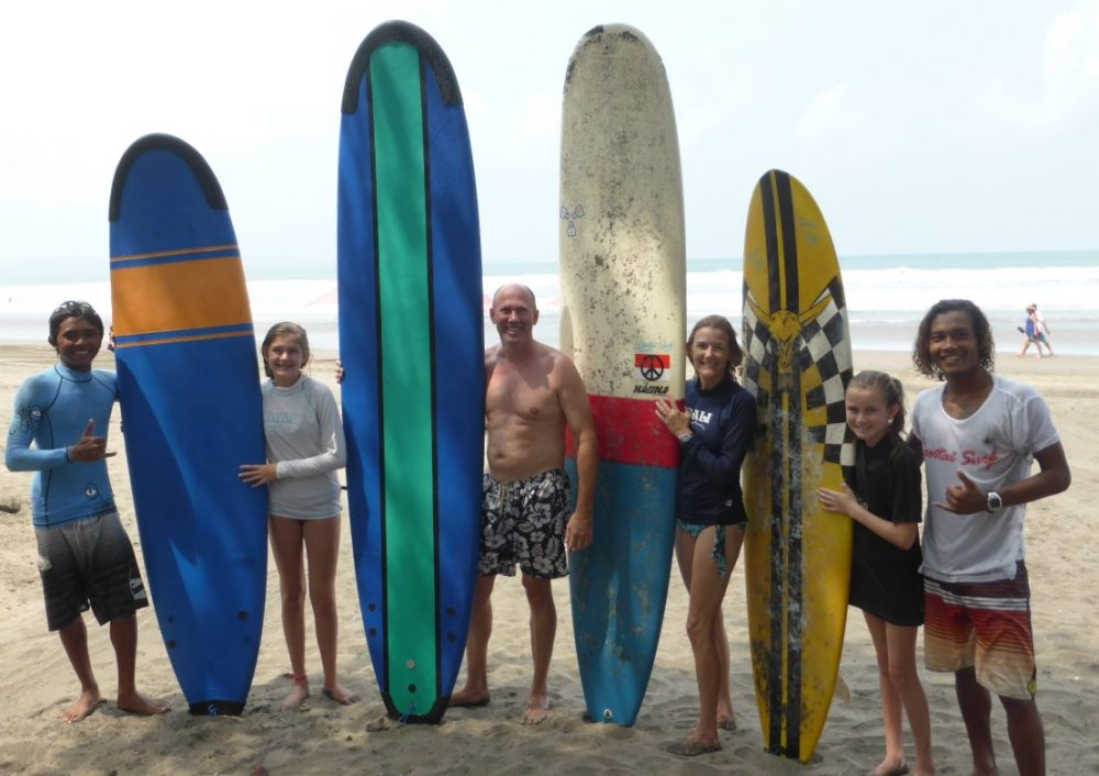 group of surfers