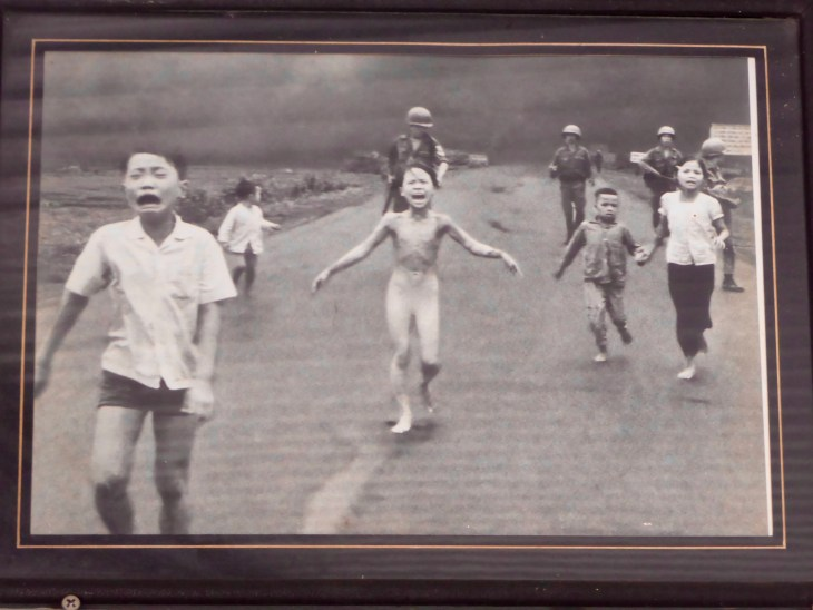 Famous photo of little girl, Kim Phuc, running naked down the street after napalm attack burned her clothes off in Vietnam war