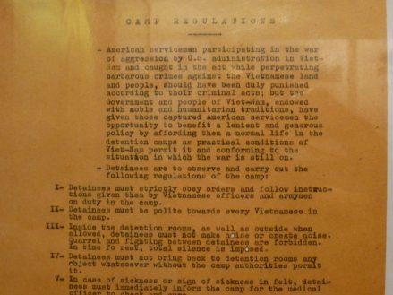 Hoa Lo prison regulations