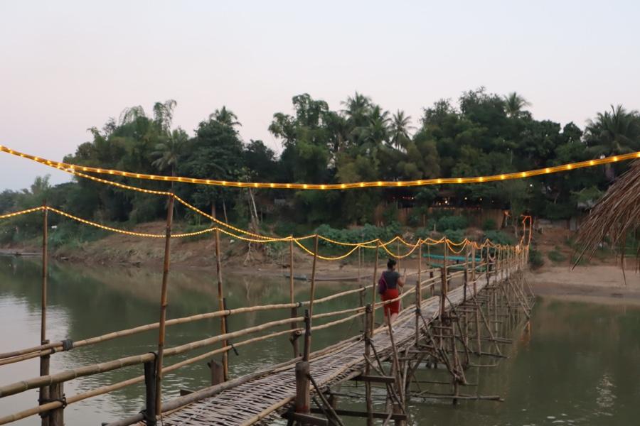 Bamboo bridge crossing the Nam Khan river.