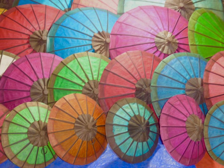Colorful umbrellas at the Luang Prabang night market