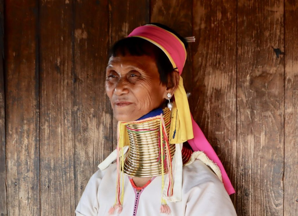 "Portrait of Long Neck or ""giraffe"" woman from the Kayan Tribe in Myanmar (Burma)."