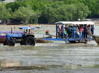 Visitors who arrive at East Railay Beach during low tide have to shuttled by tractor through the mud flats
