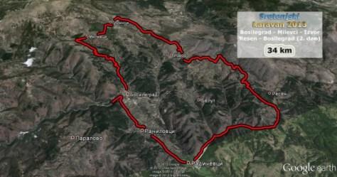 Trasa drugog dana karavana, krug po Milevskoj planini