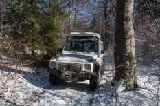On the light snow covered trail