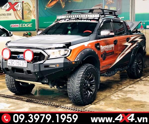 Đèn tròn 9 Inch độ giúp tăng sáng cho xe bán tải Ford Ranger