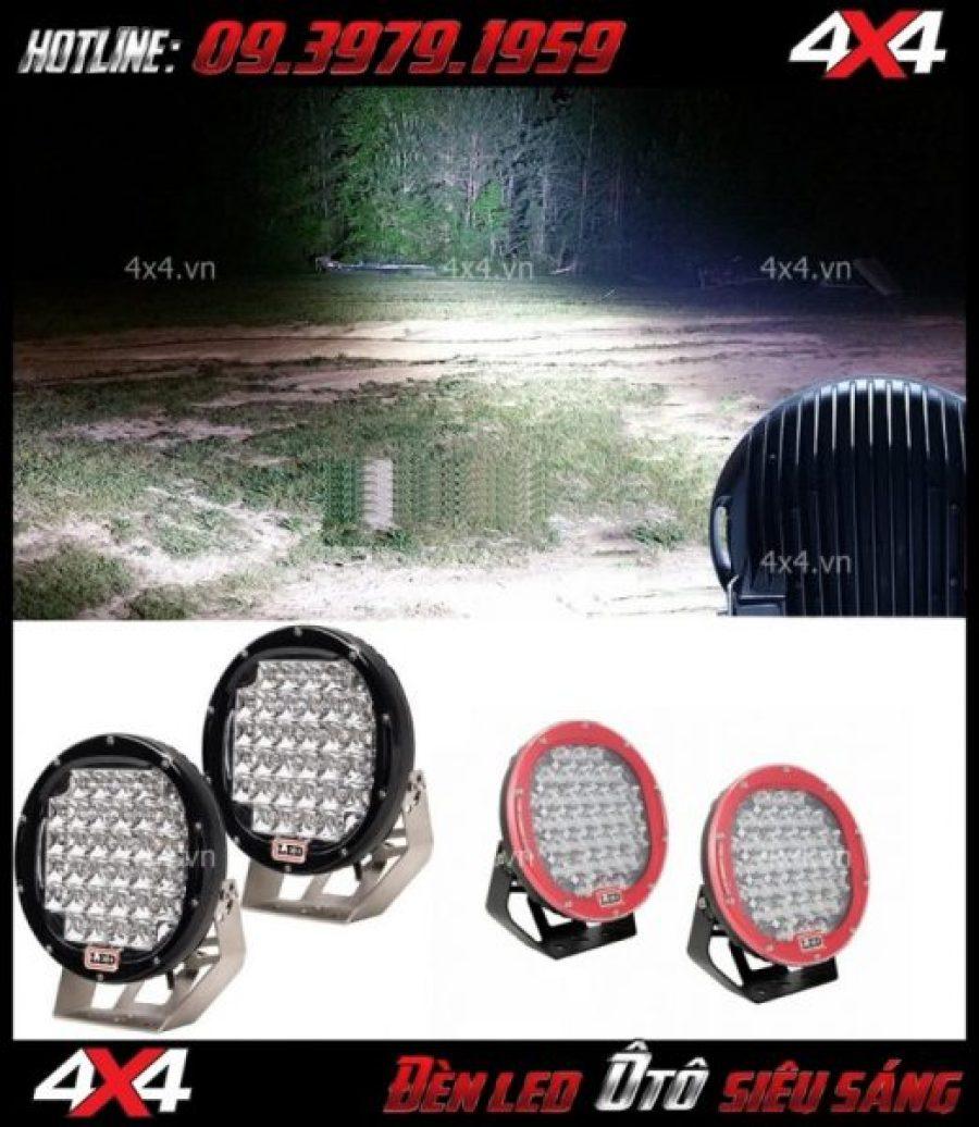 Hình ảnh đèn led tròn siêu sáng vào ban đêm dành cho xe bán tải, xe ô tô