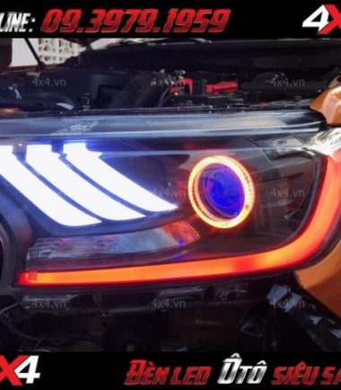Hình ảnh đèn mắt quỷ, mí led 5D độ đẹp cho xe ford ranger màu cam