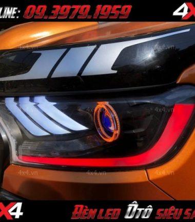 Xe ford ranger màu cam độ đẹp với đèn mắt quỷ, mí led, angel eyes tại HCM