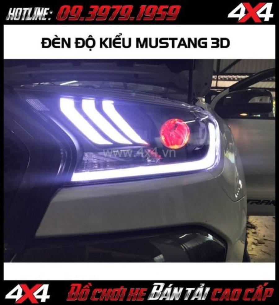 Image Combo Đèn mắt quỷ, mí led, vòng Angel eyes mẫu Ford Mustang 3D thay đẹp và nổi bật cho xe pickup Ford Ranger 2018 tại Sài Gòn