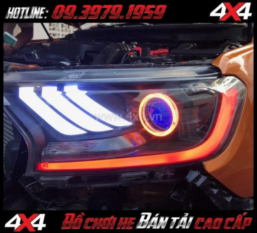 Image Combo Đèn mắt quỷ, mí led, vòng Angel eyes mẫu Ford Mustang 3D độ đẹp và đẹp cho xe pick-up Ford Ranger tại Sài Gòn