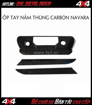 Ốp tay nắm thùng sau carbon cho xe bán tải Nissan Navara NP300