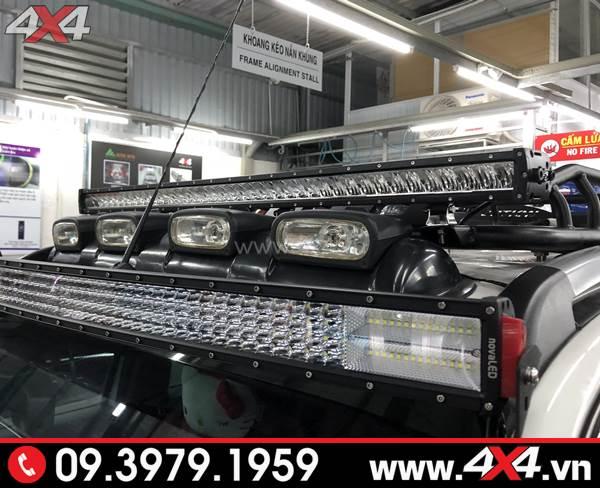 Đồ chơi xe Ford Ranger: Đèn led bar lúp vòm siêu sáng Novaled gắn xe bán tải