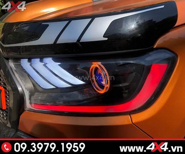 Bức ảnh đồ chơi xe Ford Ranger: Combo Đèn mắt quỷ, mí led, vòng Angel eyes mẫu Ford Mustang 3D thay đẹp cho xe off road Ford Ranger 2018 2019 ở TpHCM