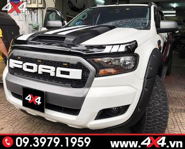 Ốp cánh lướt gió capo Ford Ranger đen sọc trắng độ đẹp và hài hòa cho xe bán tải
