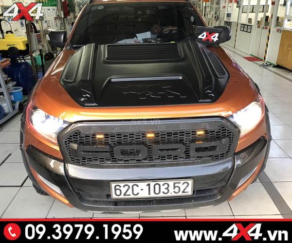 Xe bán tải Ford Ranger độ ốp nắp capo con tê giác rhino đẹp và ngầu tại 4x4