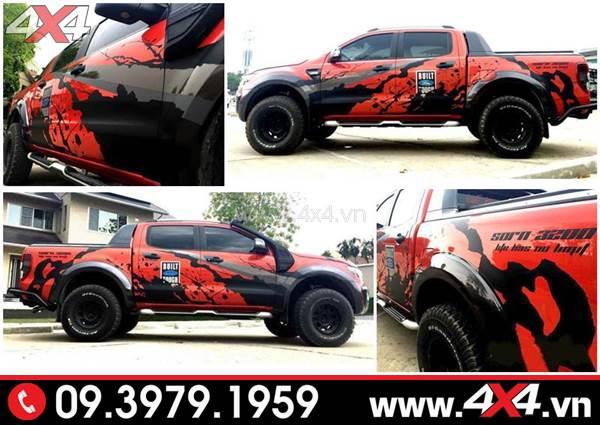 Tem dán xe Ranger: Xe bán tải Ford Ranger màu đỏ lên tem đen ngầu và chất