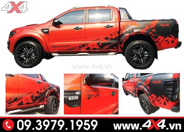 Tem dán xe Ranger: Mẫu tem dán màu đen độ đẹp cho xe Ranger màu đỏ