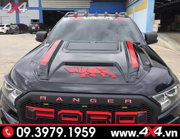 Ốp nắp capo rhino đen đỏ cực đẹp, ngầu cho xe Ford Ranger