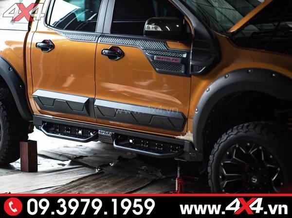 Ốp sườn màu đen bản nhỏ răng cưa độ đẹp cho xe Ford Ranger