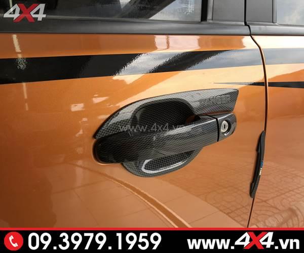 Ốp tay nắm, ốp chén cửa carbon độ đẹp và đẳng cấp cho xe Ford Ranger
