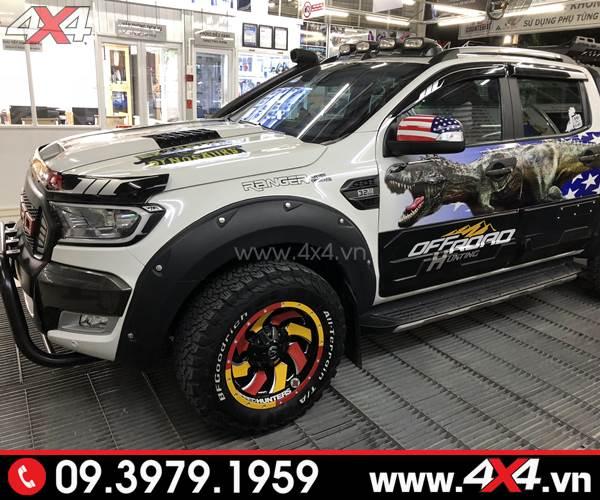Ốp viền bánh xe Ranger màu đen loại giọt nước độ đẹp, ngầu và cứng cáp cho xe Ranger