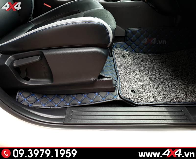 Thảm lót sàn 6D với sợi chỉ màu xanh và đường chỉ tinh tế hơn