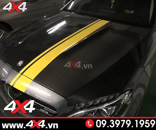 Ca pô C63 ốp full carbon fiber dành cho C200 C250 C300 Mercedes W205