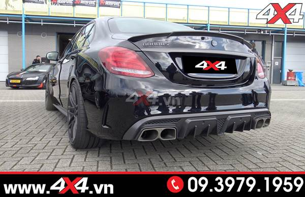 Mercedes benz c200 c250 c300 độ body lip pô sau Brabus full carbon fiber