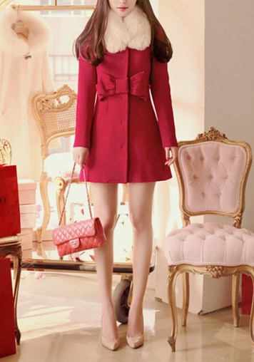 Red Removable Collar Coat