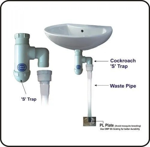 polymer cockroach s trap with flexible waste pipe