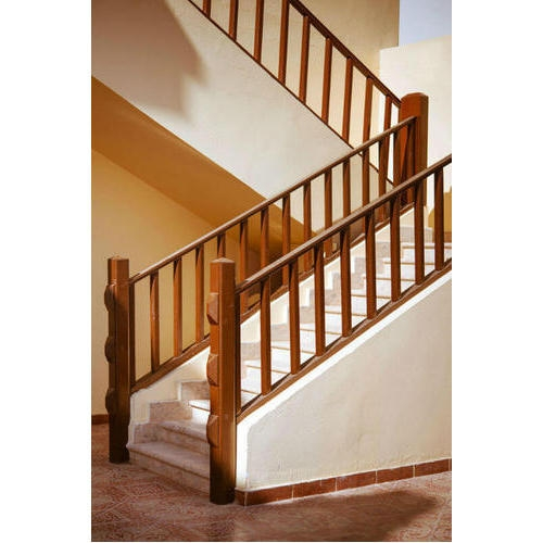 Poplar Wood Wooden Stairs Railing Rs 3000 Cubic Feet Furniture   Wood Stairs And Railings   New   Stairway   Architectural Modern Wood Stair   Color   Basement