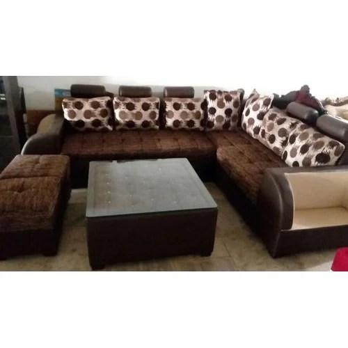 brown stylish l shape sofa set