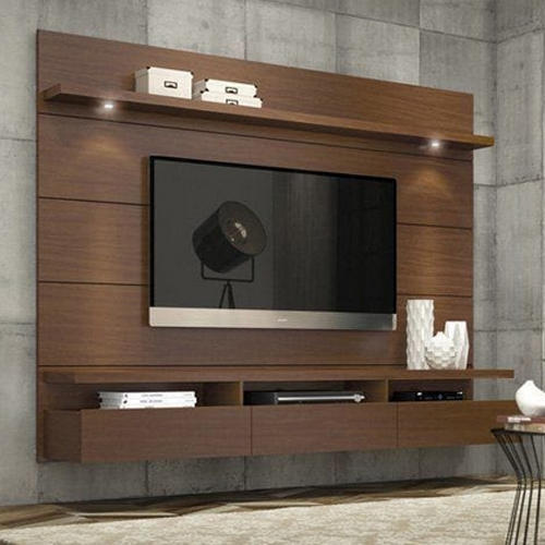 wall mounted wooden led tv unit