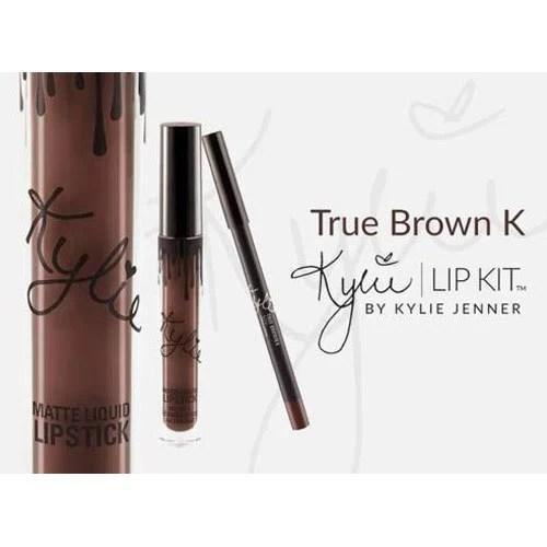 true brown k liquid lipstick and lip liner set