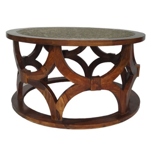round coffee table with metal work