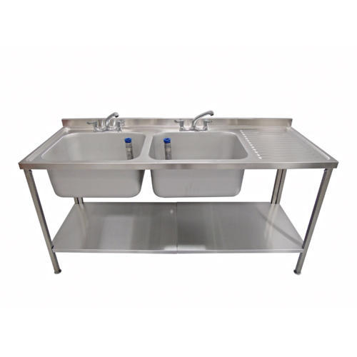 stainless steel double bowl pot wash sink