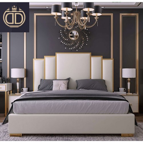 Modern Italian Luxury Crushed Velvet King Size Bed with ...