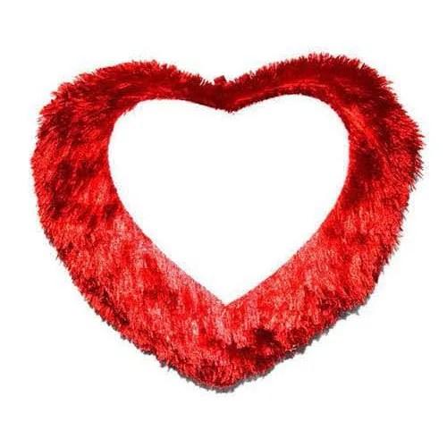 fur heart sublimation pillow