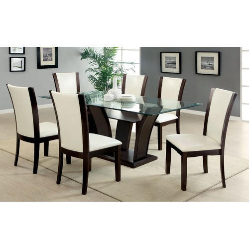 Brown White 6 Seater Modern Dining Table