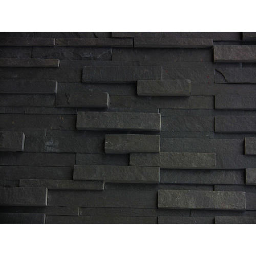 black quartzite stacked stone tile